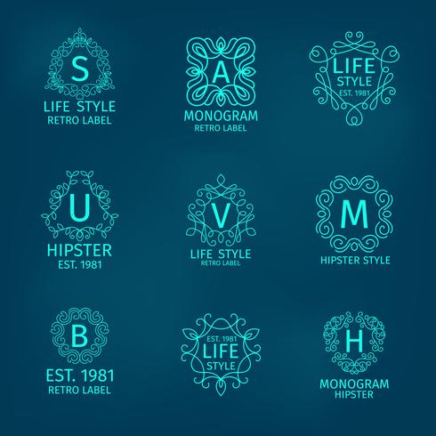 Monogram Hipster Set vector
