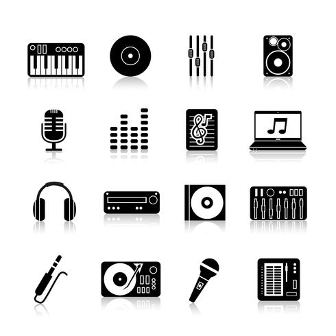 Dj Icons Black Set vector