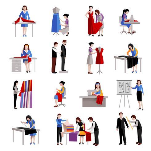 Conjunto de iconos de modista vector