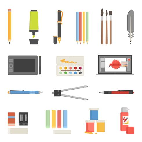 Drawing Tools Icons Flat Set vector