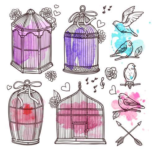 Set Cages Et Oiseaux