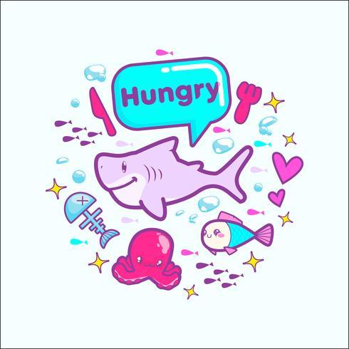 Ilustración de vector de etiqueta de dibujos animados lindo tiburón