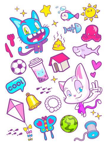 cute cat cartoon sticker vector illustration