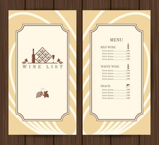 Modello di menu del vino vettore