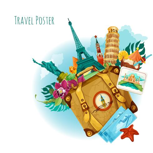 Landmarks Travel Background vector