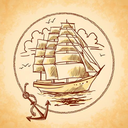 Tall ship emblem  vector