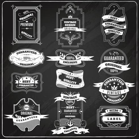 Retro emblems set chalk blackboard