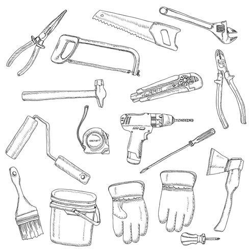 House renovation tools set black outline  vector
