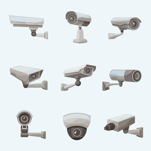 Surveillance Camera Realistische pictogrammen vector