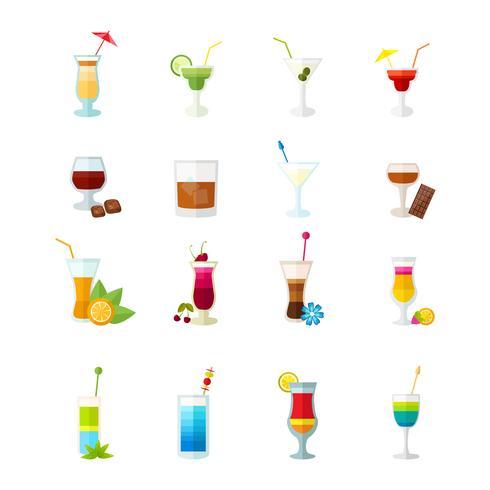 Conjunto de ícones multicoloridos cocktail