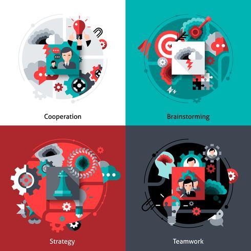 Brainstormen en teamwork instellen vector