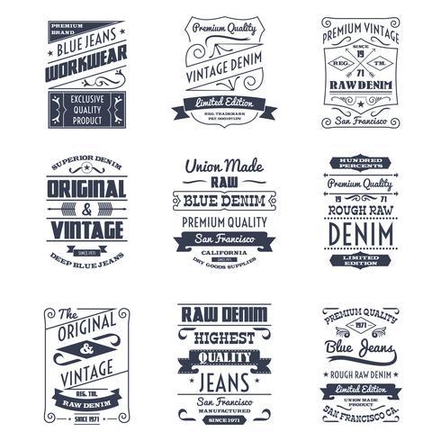 Logo-Embleme für Denim-Typografie