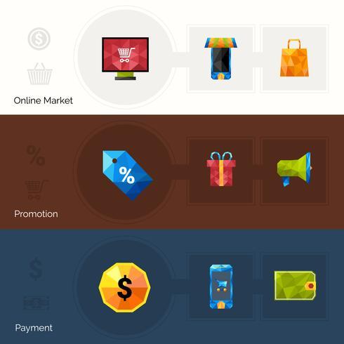 Banners poligonales de comercio electrónico vector