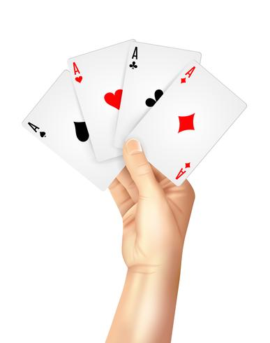 Cartas de jogar regulares se espalham segurando a mão