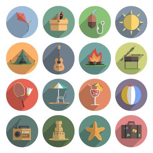Conjunto plana de iconos de verano