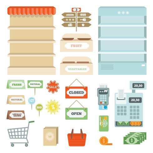 Supermarkt elementen ingesteld