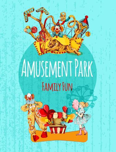 Affiche du parc d'attractions vecteur
