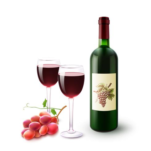 Red Wine Bottle Glasses And Grapes vector