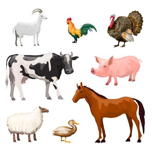 Set animaux de la ferme vecteur