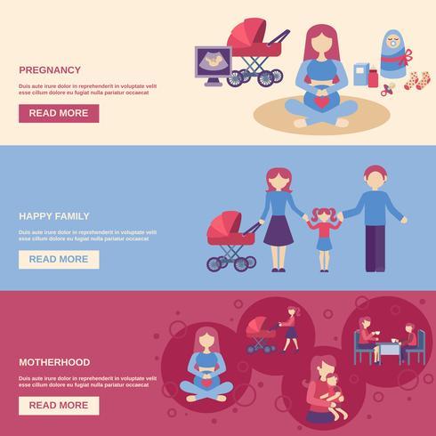 Ensemble de bannière de maternité vecteur