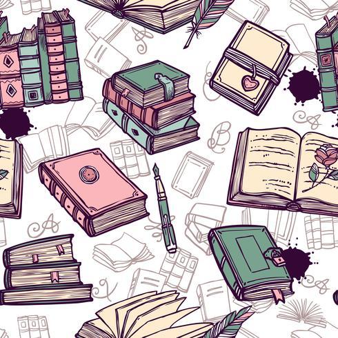 Padrão sem emenda de livros vetor