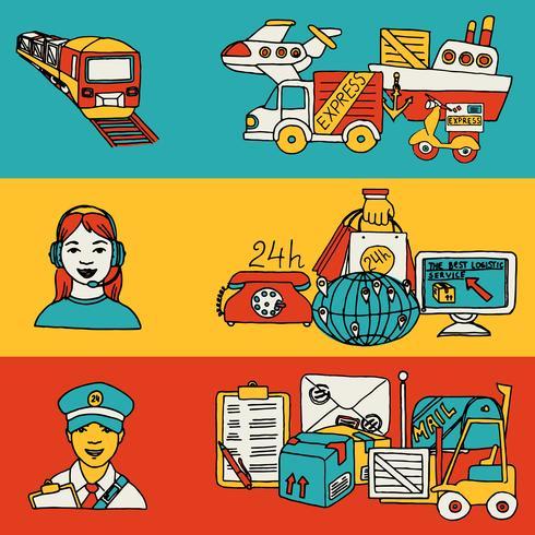 Conjunto de banners planos de concepto de logística