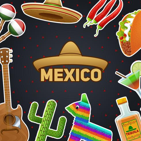 Ilustração de símbolos mexicanos