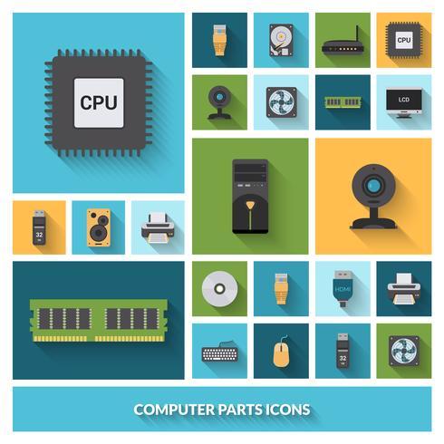 Conjunto de ícones decorativos de peças de computador vetor