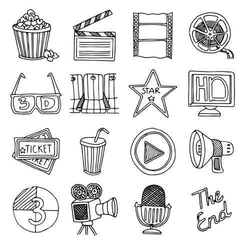 Cinema film vintage ikoner uppsättning vektor