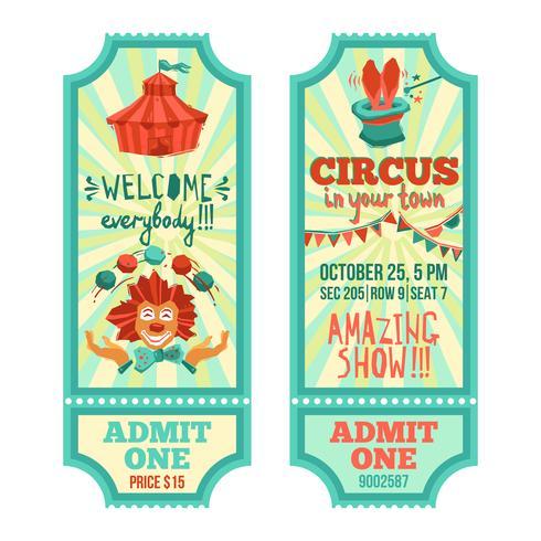 Set de entradas de circo vector