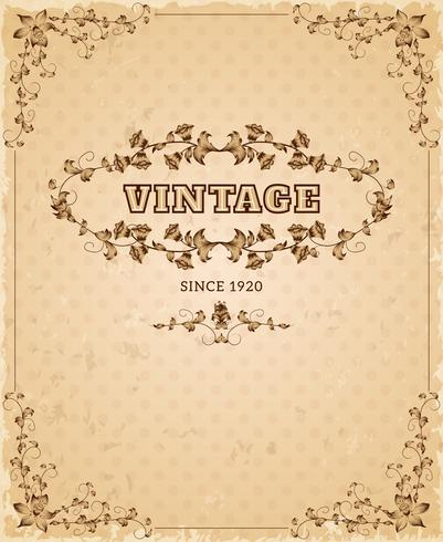 Cartel retro vintage adornado vector