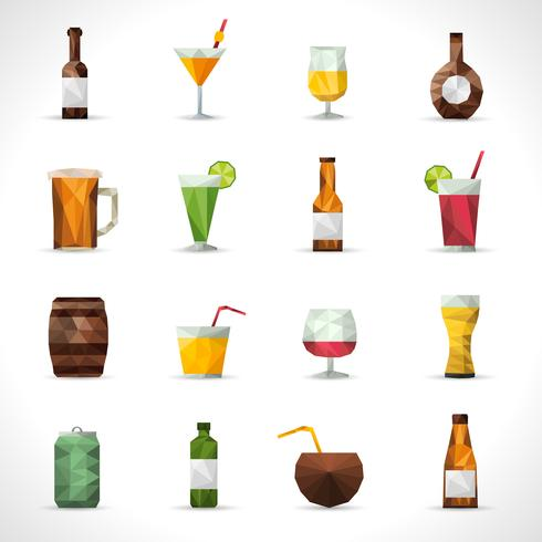 Boissons alcoolisées icônes polygonales vecteur