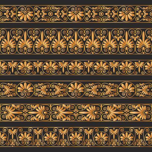 Gouden antieke grenzen op de donkere bruine achtergrond. vector