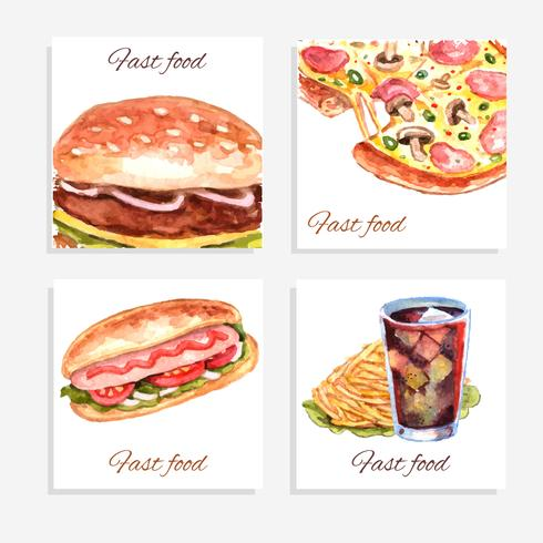 Acuarela Fastfood Tarjetas vector