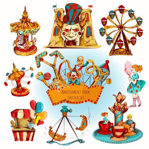 Parque de diversões colorido conjunto