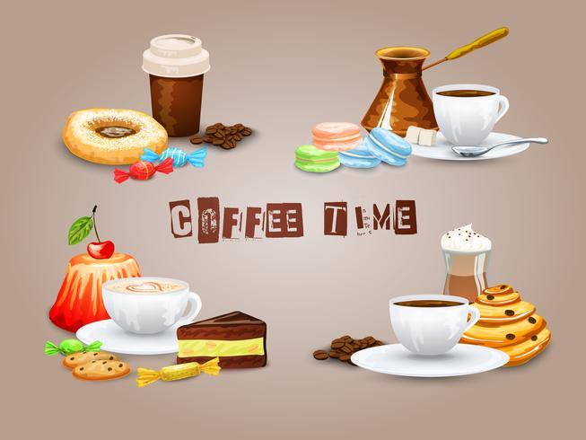 Kaffe dekorativa ikoner Set vektor