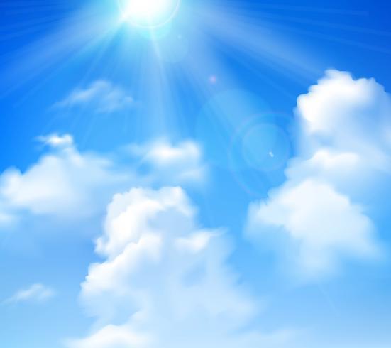 Sol brillando en el cielo vector