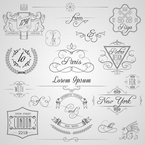 Elementos de diseño caligráfico vector
