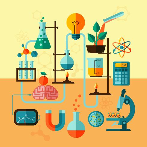 Affiche modèle de laboratoire de recherche scientifique vecteur