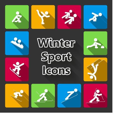 Conjunto de iconos de deportes de invierno vector
