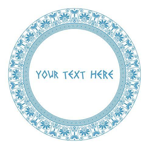 Greek round frame in blue color.