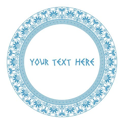 Grieks rond frame in blauwe kleur.