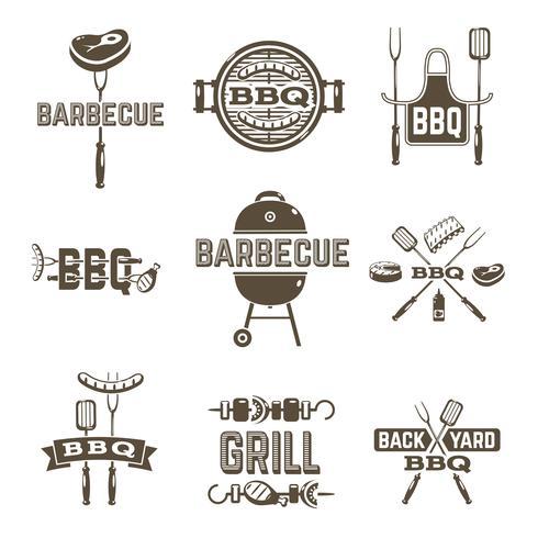 Etichette Barbecue e Grill vettore