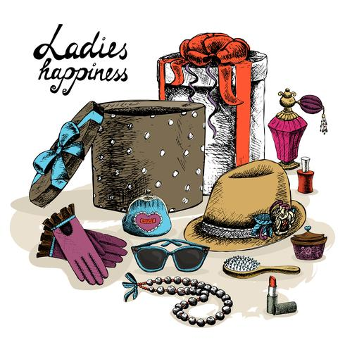 Accessoires pour femmes de la boîte cadeau ouverte