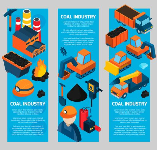 Coal Industry Isometric Banners