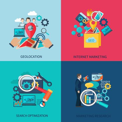 SEO Marketing vlakke pictogrammen vector