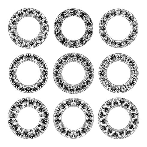 Ethnic set collection. Antique borders in black color on the white background. Greek round frames vector