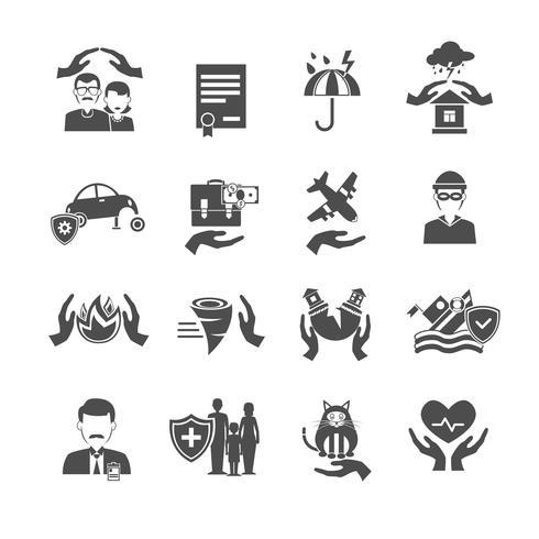 Conjunto de iconos de seguros negro vector