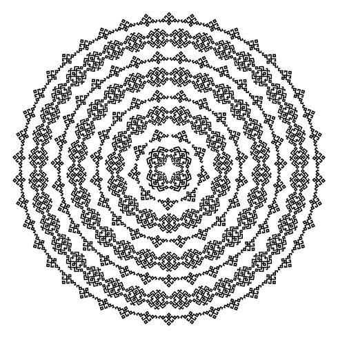 Trame senza giunte etniche monocromatiche. Forma rotonda vettoriale ornamentale isolato su bianco. Priorità bassa del reticolo di arabesque orientale. Illustrazione vettoriale