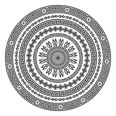 Round ornamental vector shape isolated on white.